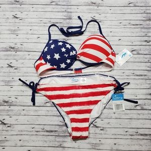 California Waves Bikini XL Set American Flag